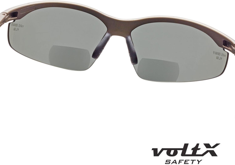 Certifi/ées CE EN166F // Lunettes de cyclisme Bifocal Lunettes de lecture de s/écurit/é anti condensation dioptrie +1.0 voltX CONSTRUCTOR POLARIS/É Lentille UV400 Polarised Safety Reading Glasses