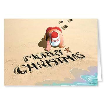 merry christmas beach sand christmas card 18 cards envelopes