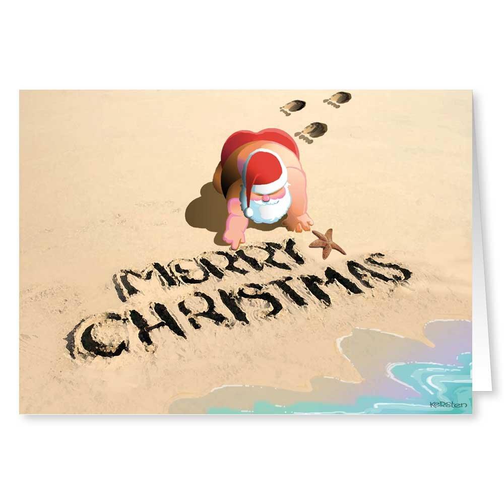 Amazon.com: Beach Jogging Santa Christmas Card - 18 Cards ...