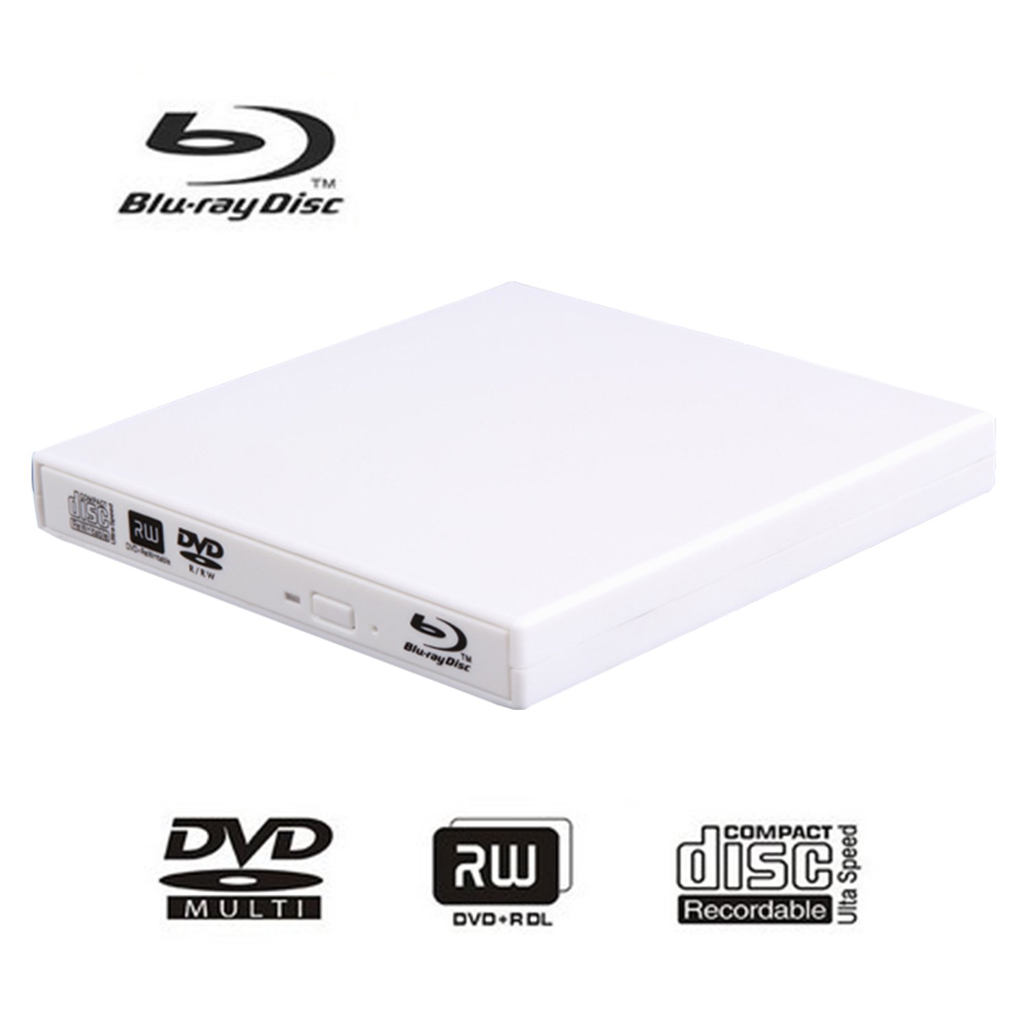 External blu-ray disc drive, USB portable DVD burner,BD-ROM,DVD/CD-RW/ROM Writer/Player,Support xp/win/Linux system related desktop, notebook, etc (white) by tengertang (Image #1)