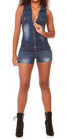 702698d406f6 V.I.P. JEANS Women s Slim Fit Sleeveless Denim Romper Shorts Zip Up ...