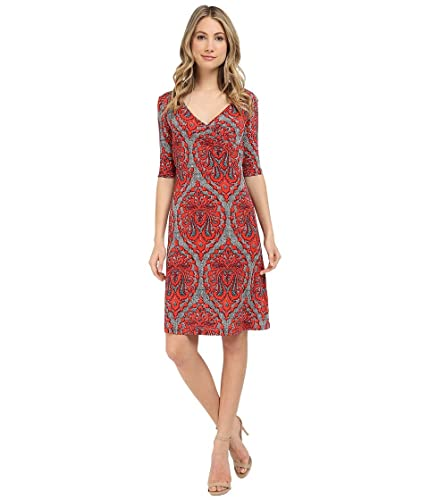 Christin Michaels Women's Tea Length 3/4 Sleeve Wrap Dress