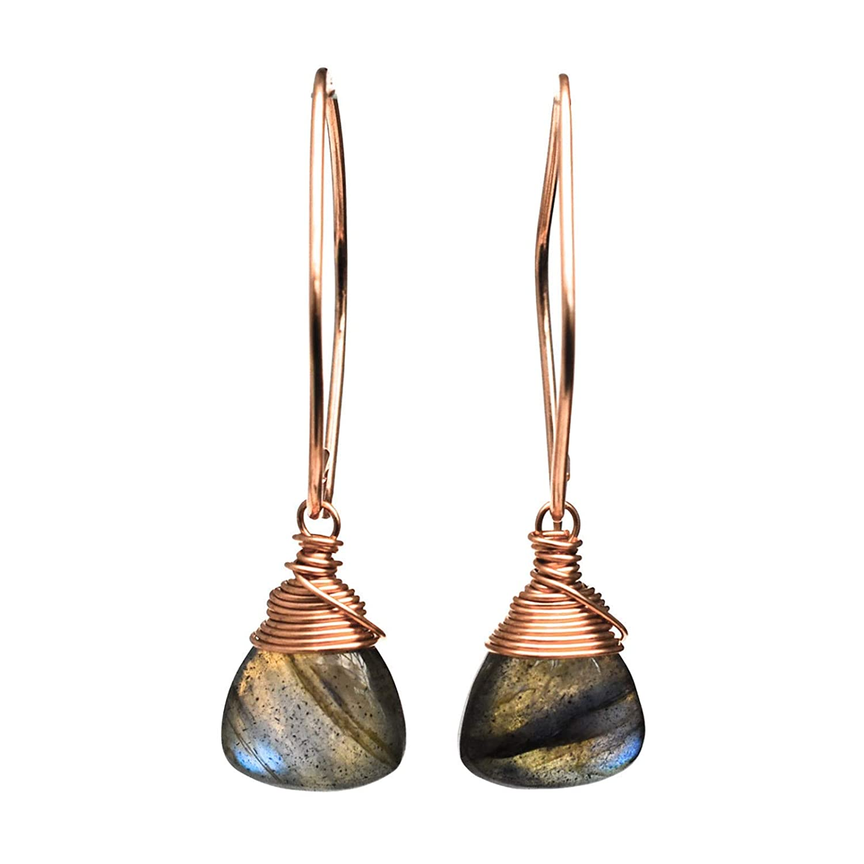 Labradorite Earrings in 14k Gold Filled wCitrine /& Smoky Quartz