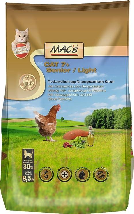 Comida seca para gatos de MacŽs, 7+ senior, light: Amazon.es: Productos para mascotas