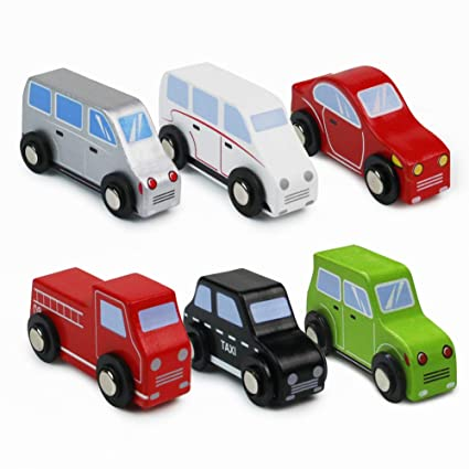 Symiu Coches De Madera Pequenos Juguetes Ninos Coche Vehiculos 6