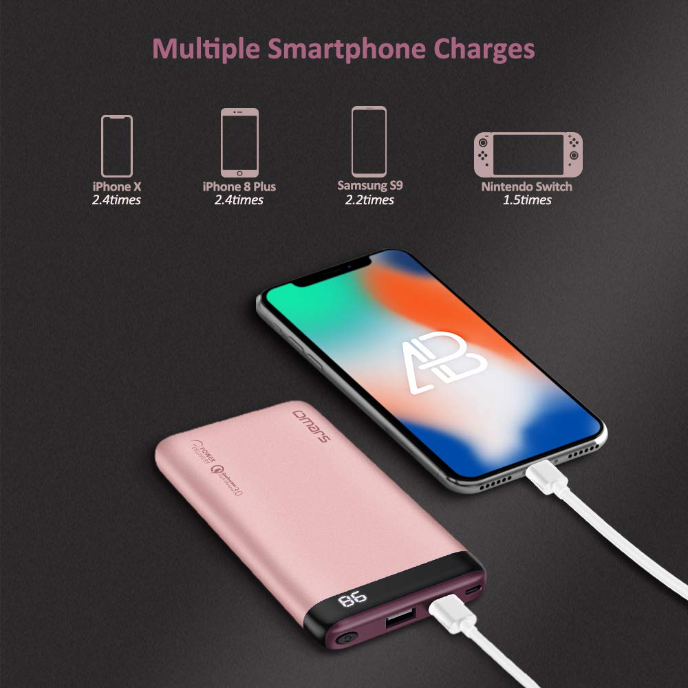 Omars Power Bank, 10000mah Portable Phone Charger Power Delivery Powerbank Fast Charge PD 18W with High Speed Input and Output PD 2.0 USB C Port , USB A Port QC3.0 for Mobile Phone External Battery Case Charge iPhone XS/XS MAX/XR/ X / 8 /8