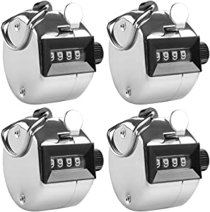 AFUNTA 4 Digit Hand Tally Counters, 4 Pack Mechanical Lap Tracker Manual Clicker with Metal Finger Ring Hoop Holder - Silver