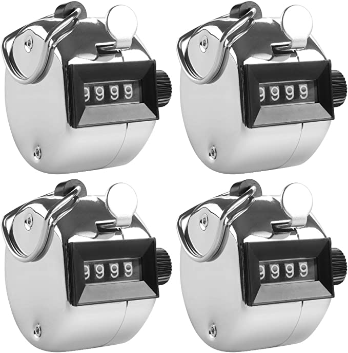FormVan Tally Counter Handheld 4-Digit Number Lap Counter Manual Mechanical Clicker with Finger Ring