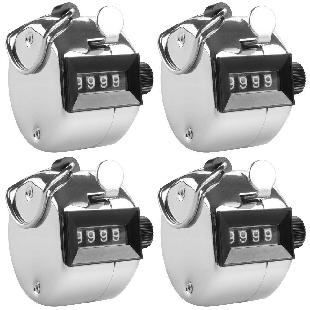4 Contadores Digitales de Mano con Lanyards, AFUNTA 4 Pack Mechanical Lap Trackers Manual Clickers con Soporte Metal Hoop Holder y Cuerdas Negras - Plata AF-tally_counter+lanyard