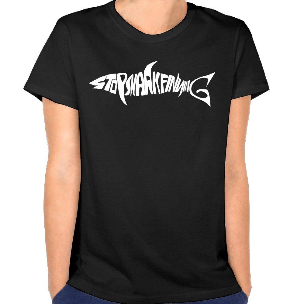 Duxa Women's Stop Shark Finning Logo T Shirts Black