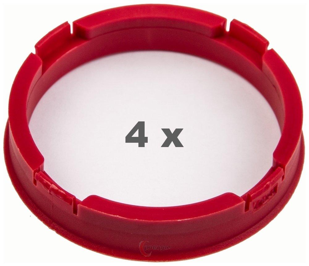 4 x Centring Rings 73.1 mm to 64.1 mm Dark Red Pneugo