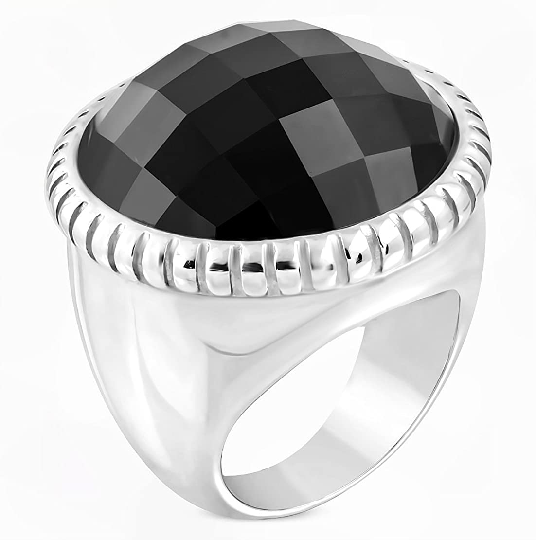 Stainless Steel Milgrain Edge Bezel-set Checkerboard-Cut Round Cocktail Ring with Faceted Jet Black CZ
