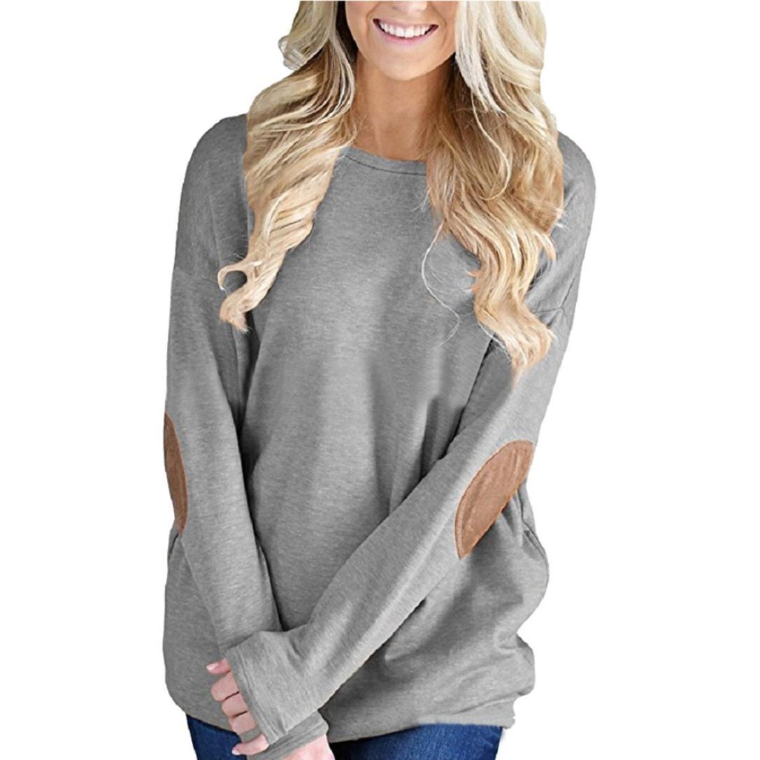 Women Tops, Gillberry Womens Cotton Long Sleeve Round Neck Splice Shirt Blouse Tops T Shirt (XL, Gray)