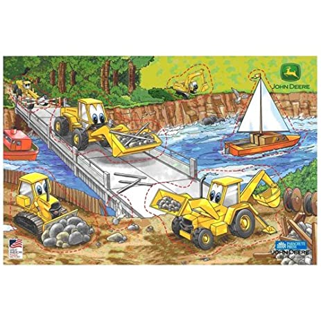GREAT AMERICAN PUZZLE FACTORY BARNEY BACKHOE WOODEN PUZZLE