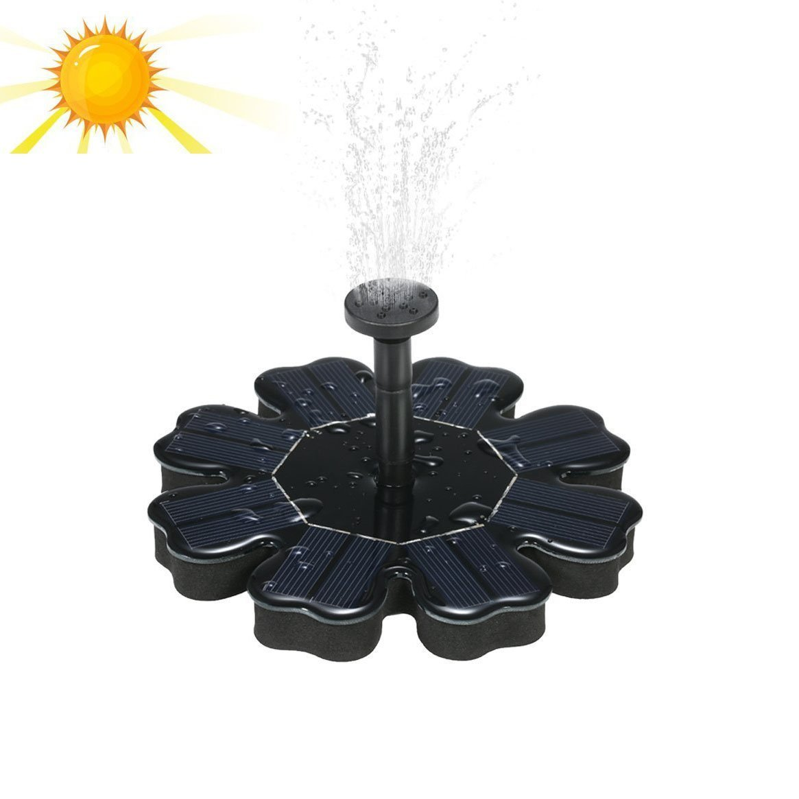 Haichen Solar Fountain Pond Pump Bird Bath Fountains Outdoor Watering Submersible Water Floating Pump Kit with Different Spray Heads for Fish Tank Aquarium Pond Pool Garden Decoration
