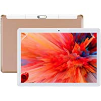 """Android Tablet 10 Inch,Tablets PC 10.1"""",HD,3G, 8.1, WiFi, GPS, GSM, Octa Core, 64GB ROM, 4GB RAM, Dual Sim Card, (Gold)>"""