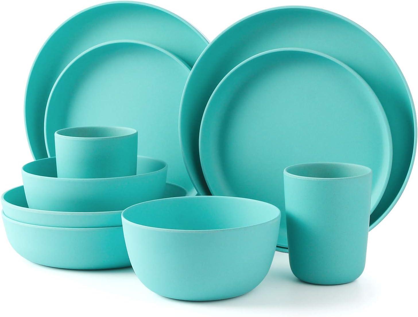2 Plat /à D/îner Bol /à Salade//Dessert et Tasse pour 2 Personne LEKOCH 10 Pi/èces Ensemble Vaisselle Bambou Bleue avec Plat /à Salade Camping//Pique-Nique//BBQ//Party