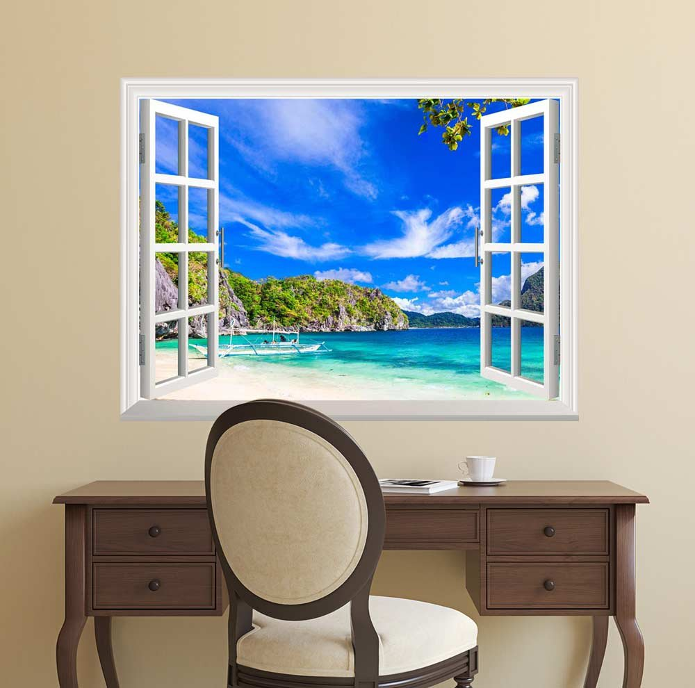 wall26 Removable Wall Sticker / Wall Mural - Panorama of Beautiful Beach in El Nido, Palawan, Philippines | Creative Window View Wall Decor - 36''x48'' by wall26 (Image #2)