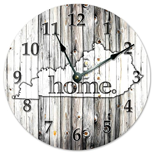 KENTUCKY STATE HOME CLOCK Black and White Rustic Clock - Large 10.5
