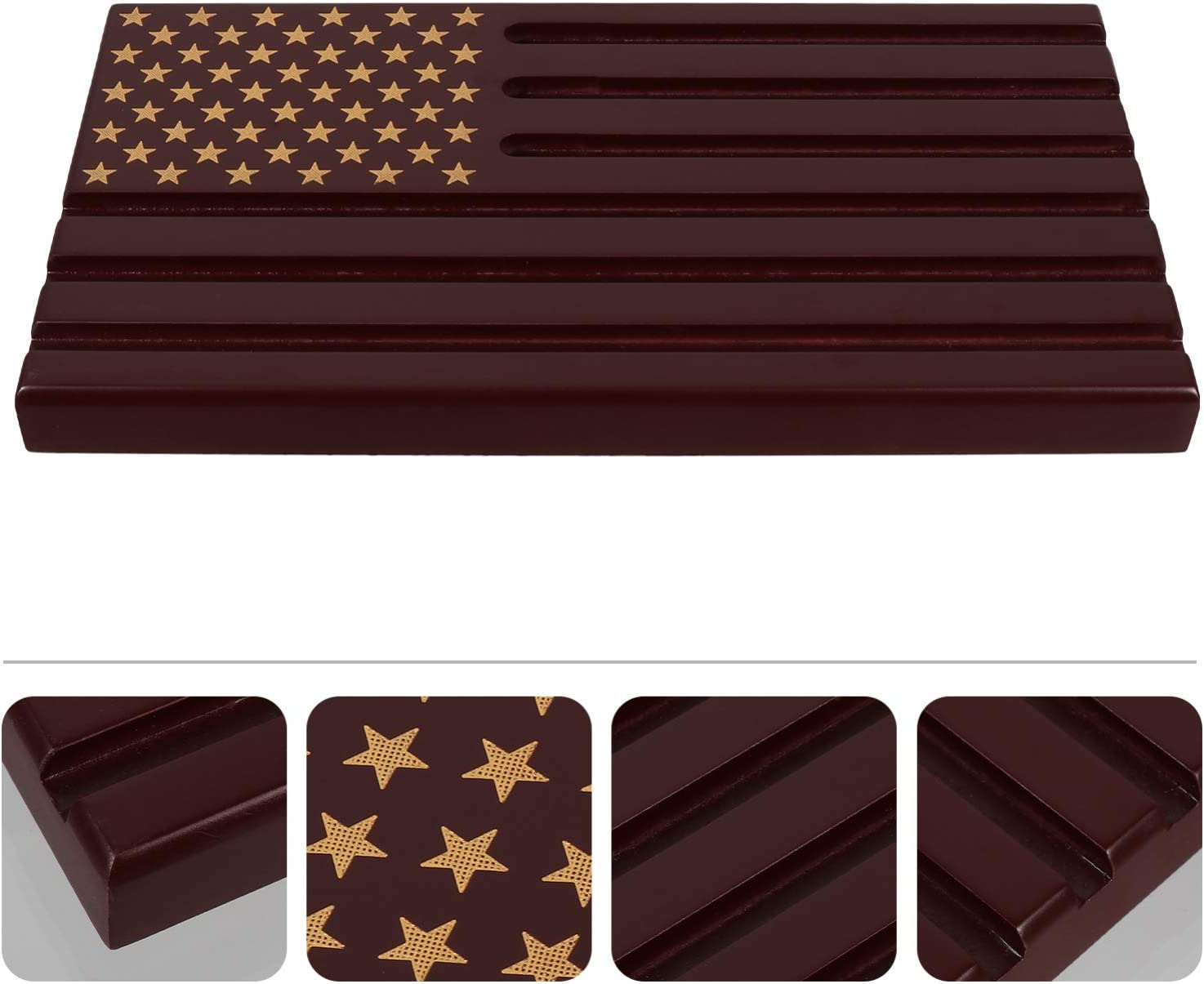 VOSAREA Military Challenge Display American Flag Coin Holder Stand Coin Display Case Wood Stand Coin Organizer for Medallion Challenge Coin Chip