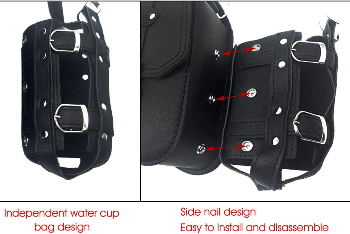 Left /&Right Left /& Right DLLL 1 Pair Black PU Leather Motorcycle Tools Bag Solo Side Swing Arm Saddle Bag Pannier Storage Saddlebag for Harley Davidson Dyna Sportster Cruiser Fat Bob XL883 XL1200