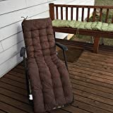 """OctoRose Soft Micro Suede Deluxe Outdoor Recliner Cushion Pads Bench Cushion Covers, Patio Long Chair Pads (17"""" x 75"""", Brown)"""