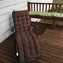 "OctoRose Soft Micro Suede Deluxe Outdoor Recliner Cushion Pads Bench Cushion Covers, Patio Long Chair Pads (17"" x 60"", Brown)"
