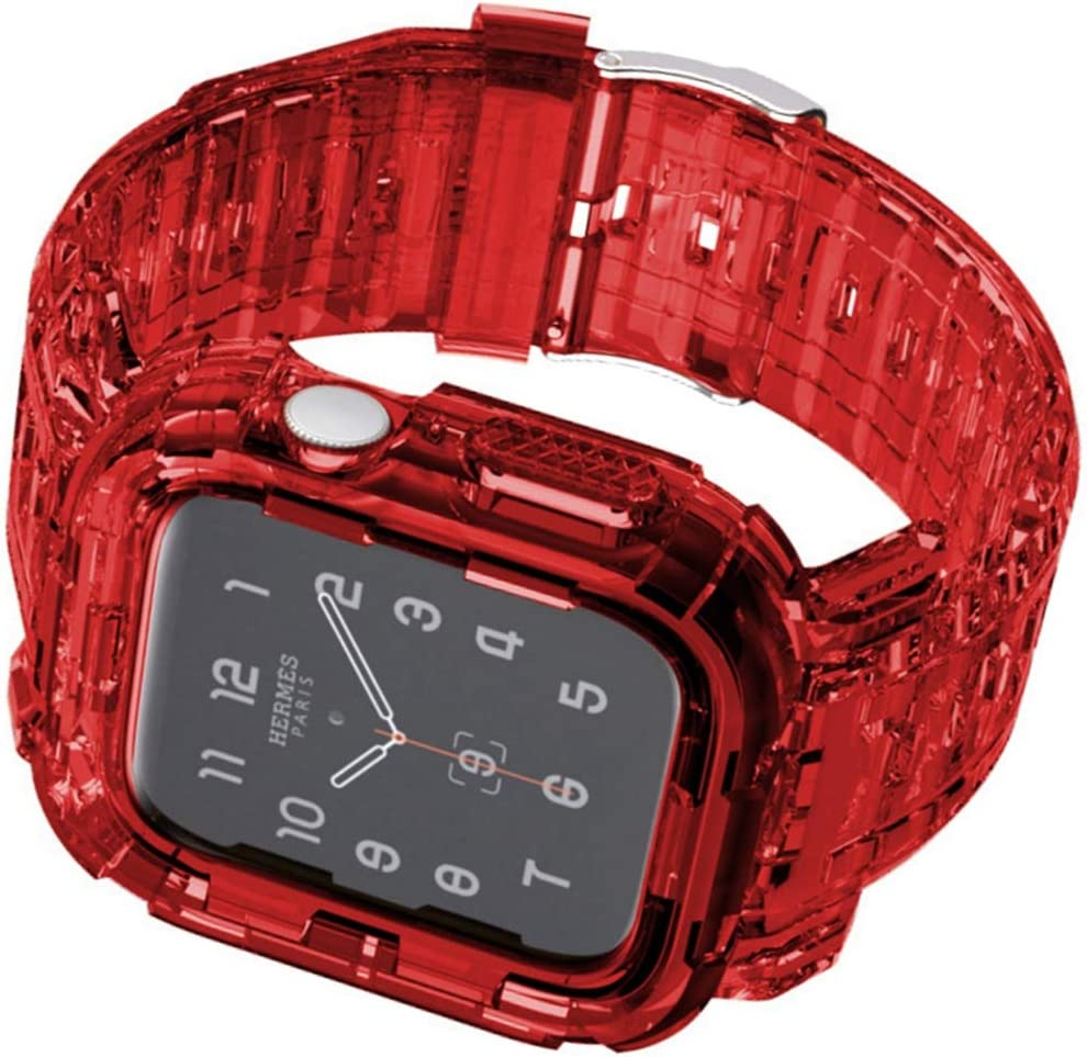 Tomcrazy Compatible for Apple Watch Bands Case 44mm/42mm/40mm/38mm, Crystal Clear Transparent Integrated Bumper Sports Wristband Strap iWatch Series 6 /SE/5/4/3/2/1 (Crystal Red, 42mm/44mm)