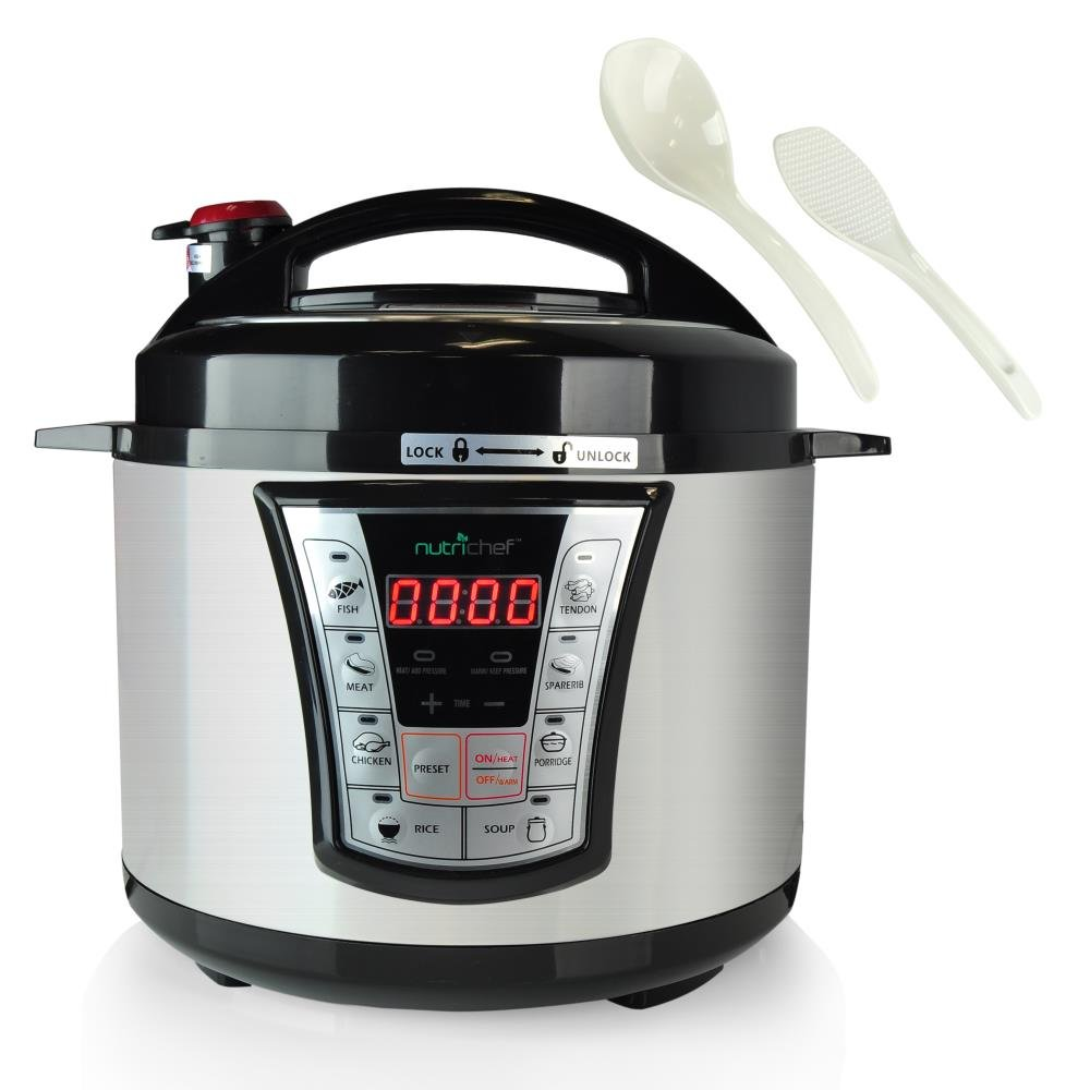 NutriChef High Power Stainless Steel Electric Pressure Cooker - 5 Quart Programmable Digital Instant Pot -Multi Recipes Cooker with 8 Modes, Lock Top Lid, Beep Alarm, Adjustable Temp/Timer - PKPRC66