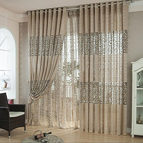 1Pc Floral Door Window Voile Tulle Valance Curtain (Coffee) - 8
