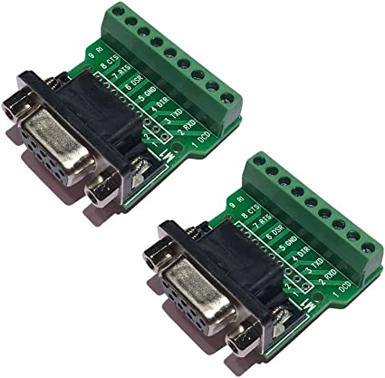DB9 Breakout Board DB9 RS232 Serial Female to Terminal Block 10 Pin Adapter Ultra Small Size