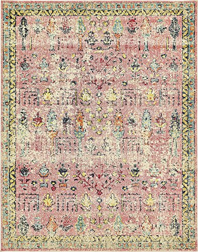 Unique Loom Monterey Collection Vintage Bohemian Tribal Distressed Pink Area Rug (8' 0 x 10' 0)