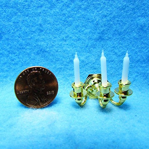 Brass Arm Wall Sconce with Candles BL - My Mini Fairy Garden Dollhouse Accessories for Outdoor or House Decor ()