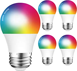 DOGAIN Smart Light Bulbs E26 Base A15 LED RGB Dimmable Color Changing Light Bulb Compatible with Alexa Google Home WiFi Multicolor Lights 6W (40W Equivalent) 500LM (Only 2.4GHz) 4 Pack