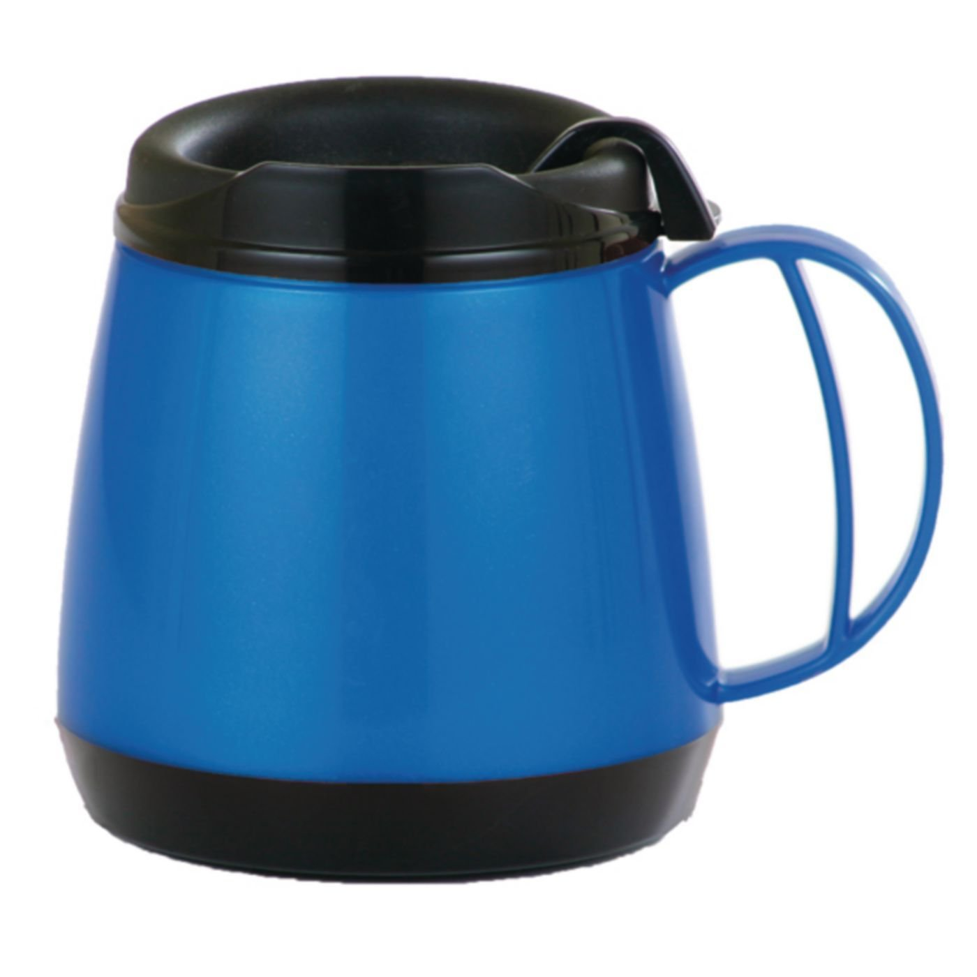 Sammons Preston Wide Body Thermo Mug, 20 oz, Blue, Foam Insulation Maintains Temperature of Hot & Cold Drinks, Durable Cup with Unbreakable Plastic Lining, Dent & Rust Proof, Ergonomic Handle
