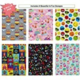 Birthday Gift Wrap Wrapping Paper for Boys, Girls, Kids & Adults too. 6 Different Fun Designs of 8 ft X 30 in Rolls / Pack Set Included! Medium/Heavy Weight Paper. Wrap includes Smiley Faces, Owl, Fox, Birthday Cake, Cup Cake, Super Hero and Chalkboard Prints.