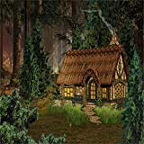 Laeacco Vinyl Thin Backdrop 5X5FT Photography Background Fairytale Forest Houselet Cartoon Enchanted & Princess Themed Trees Scenic Background 1.5(W) x1.5 (H) m Backdrop Video Photo Studio Props