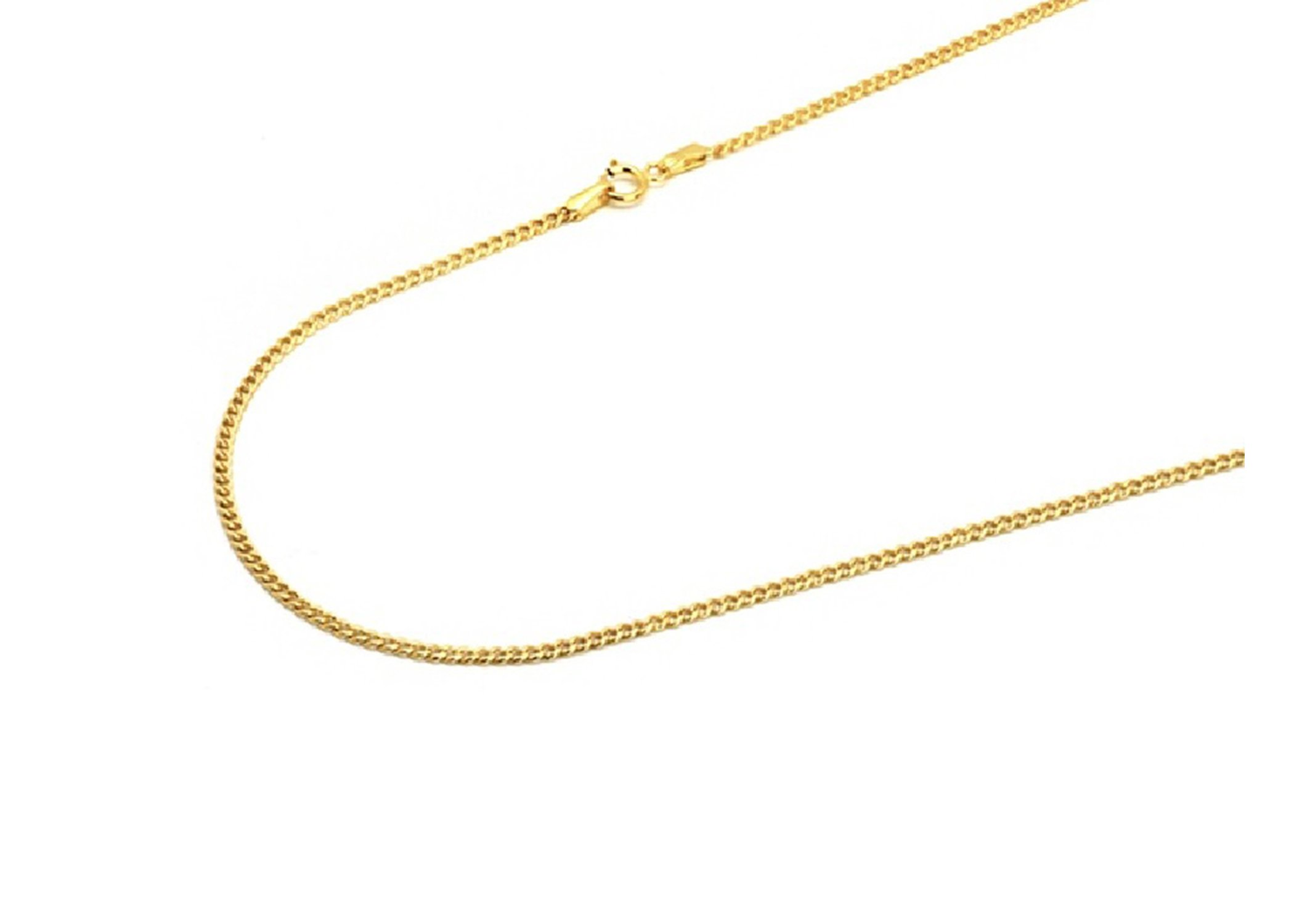 """14K Italian Crafted 2mm Authentic Yellow-Gold Curb Cuban Link Chain Necklace - Men Women Fine Jewelry (16"""" - 30"""")"""