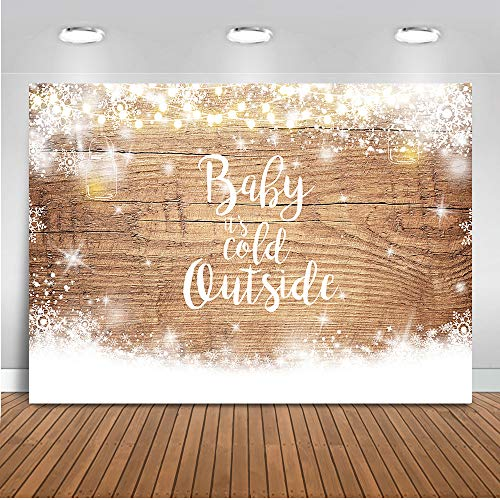 Winter Baby Shower Decorations (Mocsicka Baby It's Cold Outside Backdrop Winter Snowflake Baby Shower Photography Background 7x5ft Vinyl Wood Floor Winter Baby Shower)
