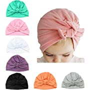 Baby Girl Hat with Rabbit Ears Bow Hat Toddlers Soft Turban Variety Knotted Hats Cap (Seven Colors (7pcs)) …