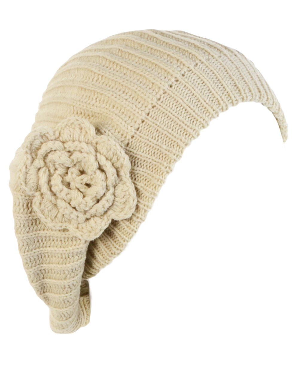 BYOS Ladies Winter Solid Chic Slouchy Ribbed Crochet Knit Beret Beanie Hat W/WO Flower Adornment, Soft Touch (Beige Flower)
