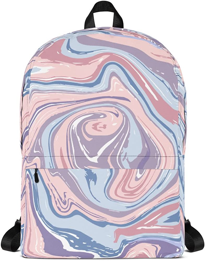 Lemoboy Pink Marble Pattern Stylish and Cool Backpack for School
