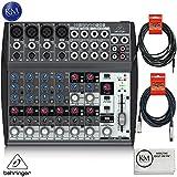 Behringer XENYX 1202 12 Channel Audio Mixer + 1 x 20ft Structure XLR Cable + 1 x 18.6 ft Strukture Instrument Cable + K&M Micro Fiber Cloth Bundle