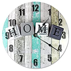 Large 10.5 Wall Clock Decorative Round Wall Clock Home Decor Novelty Clock HOME BLOCKS ON TEAL WOOD