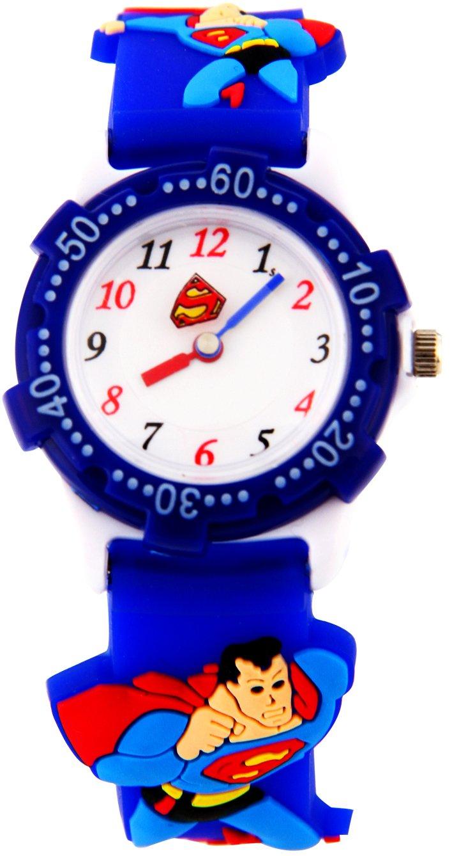Children Toddler Kids Watches Little Girls Boys Cute Cartoon 3D Watch Digital Silicone Waterproof Wrist Watches Time Teacher Gifts for Child,Superman Dark Blue