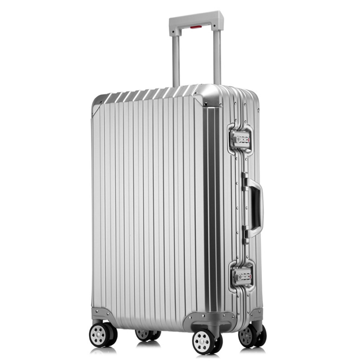 sindermore 100% Aluminum luggage suitcase (20, Silver)