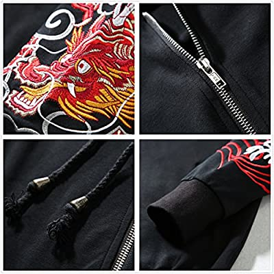 Allonly Men s Fashion Dragon ToTem Hoodie Zip-up Chinese Letter Windbreaker  Jacket c5129c7cc