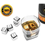 Whiskey Stainless steel Ice Cube, Beta Stainless Steel Cooling Cubes Food-Graded Reusable for Scotch Drinks, Whiskey Wine Beer, Juice, Beverage and Red Wine ( set of 8) with tray