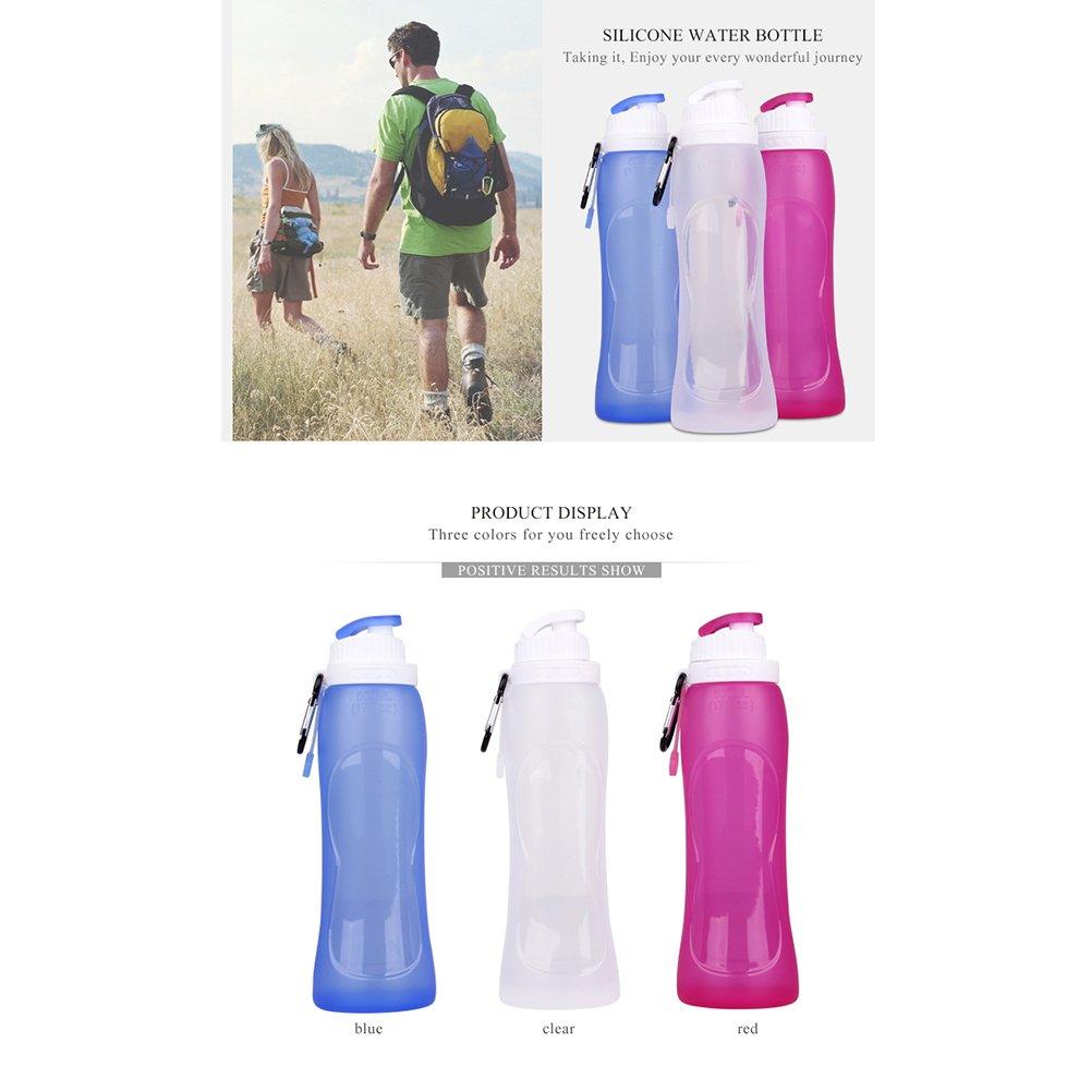 Elaborazione e di Tutti i giorni Campeggio Jogging Formato Tascabile Migliore per Escursioni a Piedi Toweter 500ml Silicone Pieghevole Comprimibile Bottiglia Dacqua