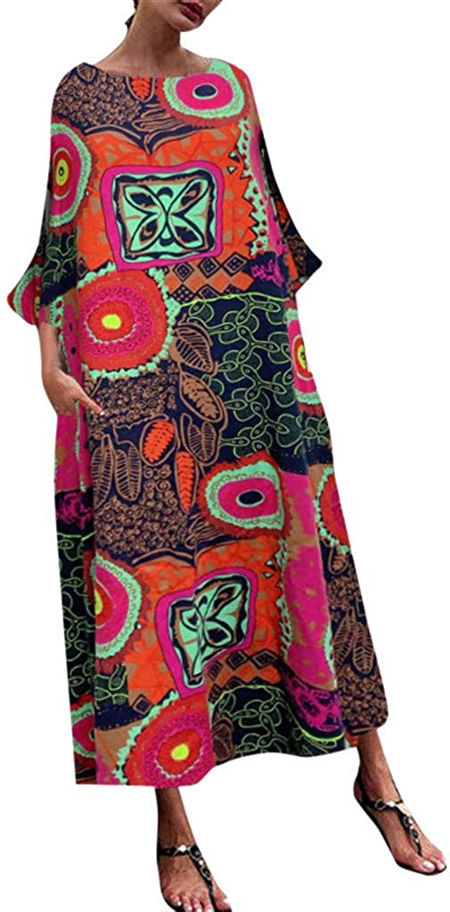aihihe Summer Plus Size Maxi Dresses for Women Casual Loose Floral Print Beach Party Sleeveless Long Dress with Pockets